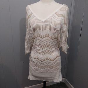 WHBM Double V Neck White/Gold Chevron Sweater XL